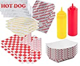 Ketchup & Mustard Hamburger & Hot Dog Foil Wrap Bags - Food Tray Containers + 25 Hamburger & Cheeseburger Bags & 25 Hot Dog Foil Wraps 50 sandwich outdoor picnic party BBQ fun pack sandwich papers
