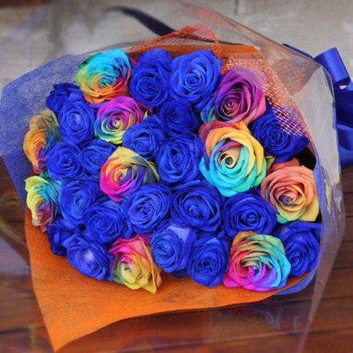 青いバラ ブルーローズ 青ばら 20本とレインボーローズ 虹色のバラ10本ミックスの花束 キラキラ白いかすみ草付き 生花 花言葉「可能性」「神の祝福」「奇跡」 B00GI9D8TM