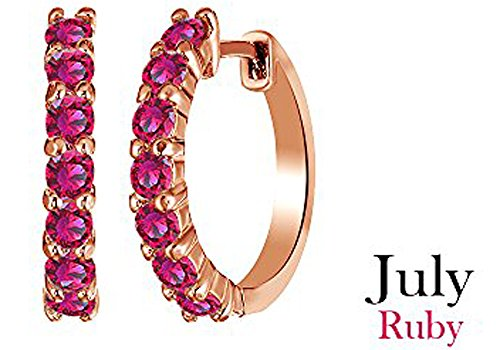14k Rose Gold Over Sterling Silver Round Cut July Brithstone Ruby Hoop Earrings (0.64