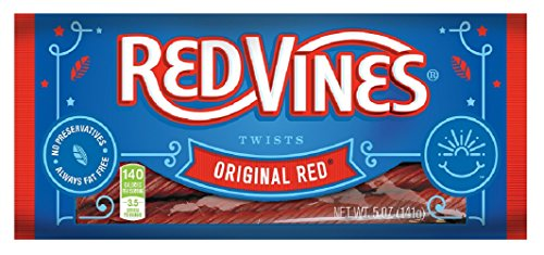 Red Vines Red Licorice, Original Red Flavor Twists, Soft & Chewy Candy, 5oz Trays (12 (Fat Free Licorice)
