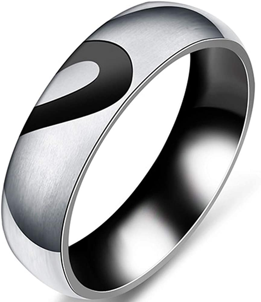 Jude Jewelers 6mm Stainless Steel Heart Shaped Wedding Band Anniversary Couple Ring