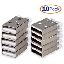 USB Male Port Connector, Conwork 10-Pack Straight Jack Solder USB Repair Replacement Adapter