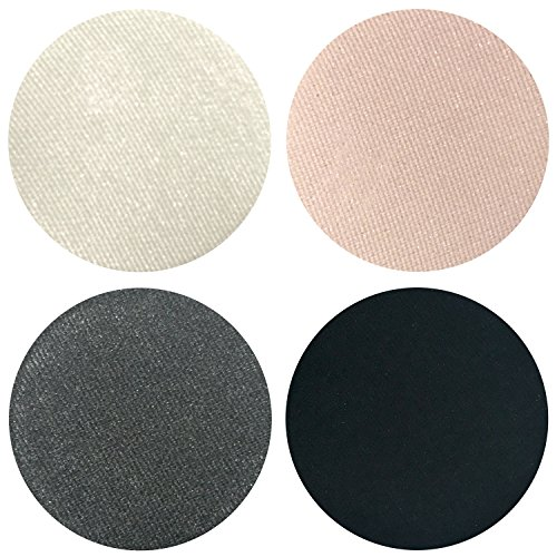 Smokey Night Collection Eyeshadow Quad: 4 Single Eye Shadows Makeup Magnetic Refill Pan 26mm, Paraben Free, Gluten Free, Made in the USA by Beauty Junkees