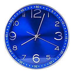 Egundo 12 Inches Silent Wall Clocks Royal Blue Modern Large Decorative Non-ticking Metal Analog Clock Battery Operated Sweep Quartz Movement for Kitchen Office Home and Store (Update)