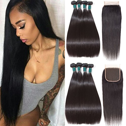 Brazilian Straight Hair with Closure 8A Brazilian Virgin Hair with Closure Straight Human Hair 3 Bundles with Closure (18 20 22+16 closure, Natural Black Color) supplier