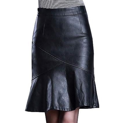E-Girl E6096 - Falda de Piel sintética para Mujer Negro 44 EU 4XL ...