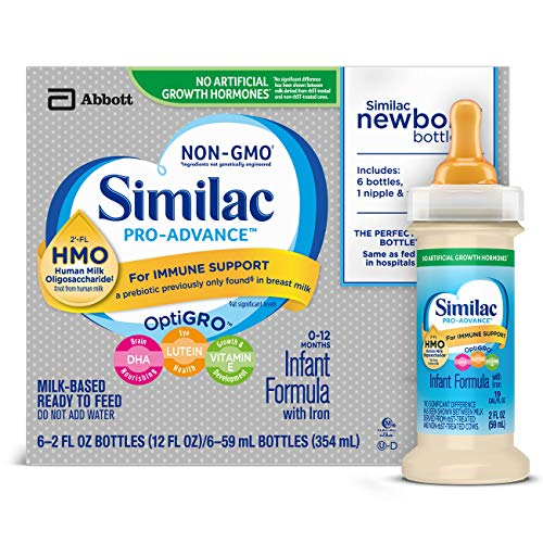 Similac Pro-Advance Infant Formula with 2'-FL HMO for Immune Support, Ready to Feed Newborn Bottles, 2 fl oz, (48 Count) ()