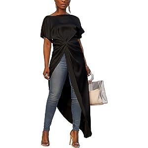 8abfaf864666 Ophestin Women's Casual Basic Blouse Short Sleeve Drawstring Summer High  Low Shirt Blouse Top
