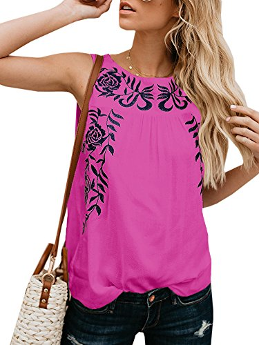 Faisean Womens Floral Print Bohemian Sleeveless Tank Tops Girls Casual - Shirt Sleeveless Embroidered