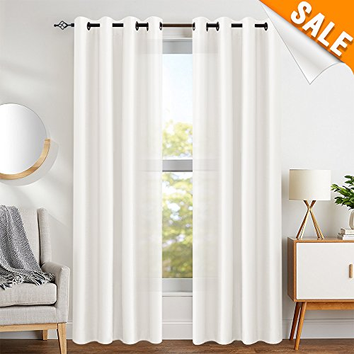 - White Faux Silk Curtains for Bedroom Dupioni Light Reducing Window Curtain for Living Room Satin Drapes Privacy Window Treatments Grommet Top 63 inches Long, 2 Panels