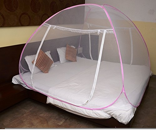 Classic Mosquito Net - Foldable, King Size Double Bed With Saviours - (Pink) product image