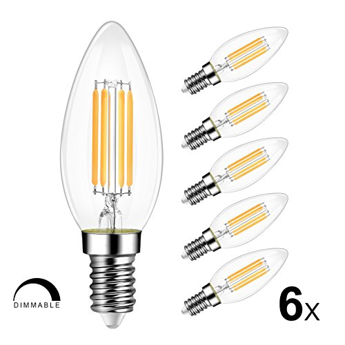 LVWIT B11 LED Filament Bulb 4W E12 Candelabra Base 3000K Soft White 40 Watt Incandescent Bulbs Equivalent 420 Lumens Dimmable LED Light Bulb 6 Pack