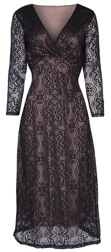 Lindy Bop 'Sabina' Vintage 1940's 1950's Style Black Long Sleeved Lace Wiggle Dress