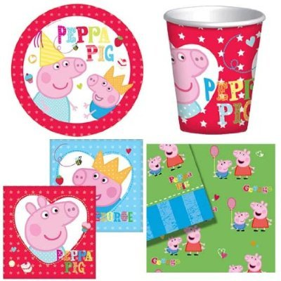 BIRTHDAY PARTY TABLEWARE PACK NEW PEPPA PIG DESIGN PLATES NAPKINS CUPS TABLECOVER