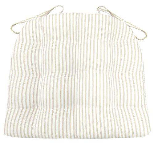 Barnett Products Ticking Stripe Natural Dining Chair Pad with Ties – Size Standard – Latex Foam Fill – Made in USA
