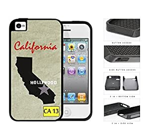 California State Tag License Plate with State Outline CA 13 Grunge Background 2-Piece High Impact Dual Layer Black Silicone Cell Phone Case iPhone 4 4s