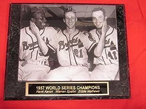 1957 Milwaukee Braves Eddie Mathews Warren Spahn Hank Aaron Collector Plaque w/RARE 8x10 Photo!