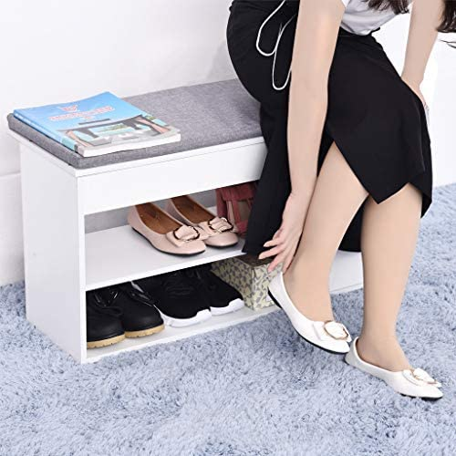 Maikouhai 2-Tier Change Shoe Bench, Shoes Cushion Seats Entryway Storage Shoe Cabinet Rack Storage Stool with Two Drawers – MDF Cotton Linen, Warm White, 31.5×11.8×16.5 Inch