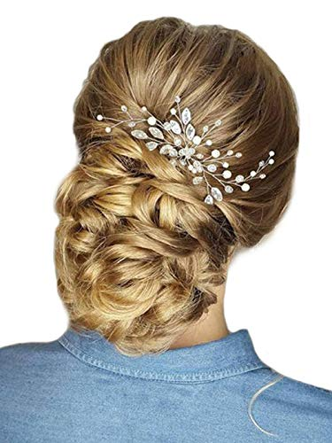 Barogirl Wedding Hair Pins Clips Set Bride Head Piece Bridal Crystal Hair Jewelry for Women and Girls 1 PC (Silver)