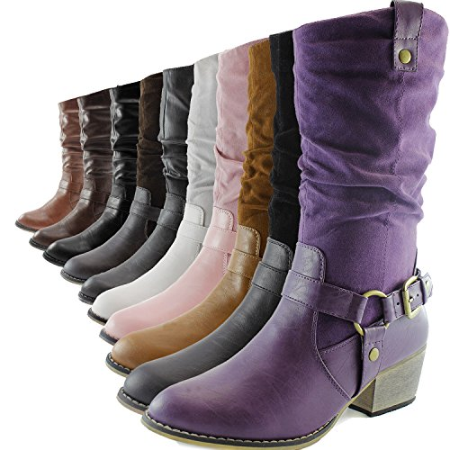 Womens Sv 01 Western Calf Cowboy Brown Strap Buckle Mid Slouch Boots Ankle Style rTqaY7r0