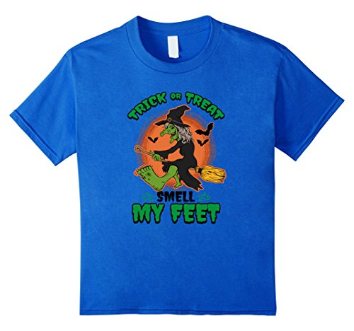 Kids Halloween Witch Trick or Treat Smell My Feet Funny T-shirt 10 Royal Blue