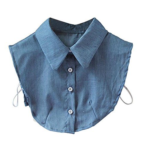 Magik Choker Necklace Unisex Women Peter Pan Detachable Lapel Shirt Fake False Collar (Denim-Blue) Collar Denim Shirt