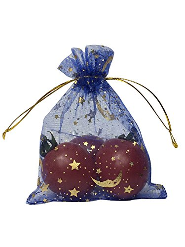 - SUNGULF 100Pcs Sheer Organza Drawstring Pouches Stars and Moon Wedding Party Favor Jewelry Candy Gift Bags (3x4 inch, Blue)