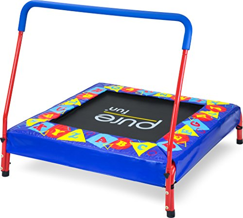 """Pure Fun Kids Preschool Jumper: 36"""" Mini Trampoline with Handrail, Youth Ages 3 to 7"""
