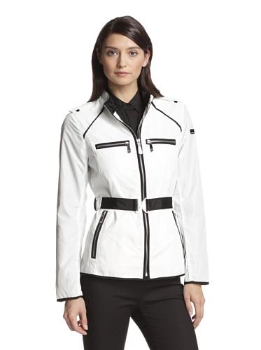 VINCE CAMUTO Women's Grosgrain Trim Zip Jacket, Off White, XS