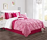 King Size Comforter Sets with Matching Curtains 7 Pieces KING size Hot Pink / Pink / White Double-Needle Stitch Pinch Pleat All-Season Bedding-Goose Down Alternative Embroidered Comforter Set