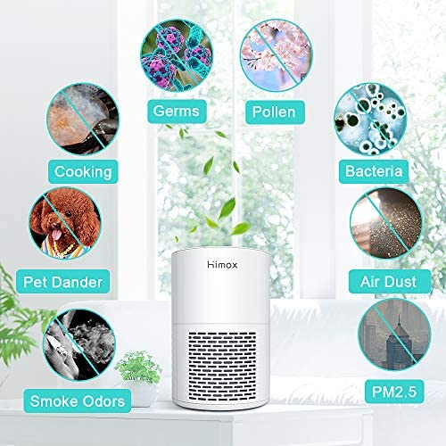 HIMOX Air Purifier for Home, Office or Bedroom, Quiet Air Purifiers with HEPA Filter, Desktop USB Air Cleaner for Dust, Pollen, Pets, Dander, Cooking, Allergy
