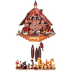 Original Eight Day Movement Cuckoo Clock with Moving Blacksmith Figures and Horses 21.5 Inch