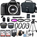 Canon EOS 80D DSLR Camera (Body Only) with Bundle - Includes 58mm HD Wide Angle Lens + 2.2x Telephoto + 2Pcs 32GB Sandisk SD Memory + Filter & Macro Kit & More Accessories