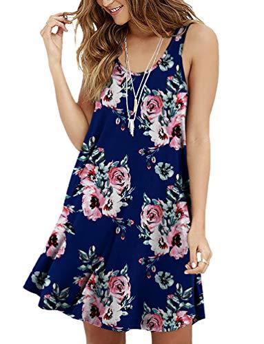 - Viishow Women Summer Casual T Shirt Dresses Floral Print Beach Cover up Plain Tank Dress(Floral Navy Blue L)