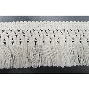 1-1/2 Inches Wide Cotton Tassel Fringe In Beige Pack of 10 Yards