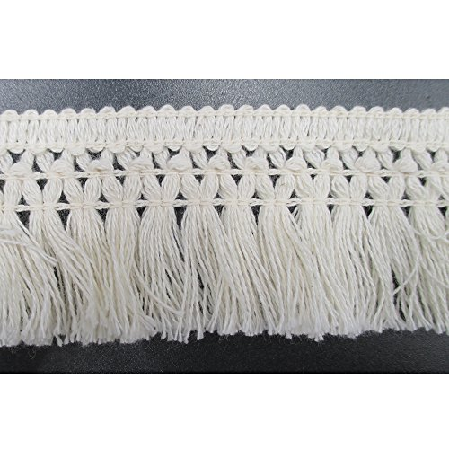 Buy Discount 1-1/2 Inches Wide Cotton Tassel Fringe In Beige Pack of 10 Yards