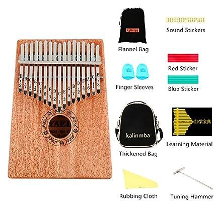 17 Teclas Kalimba/Thumb Piano/Piano de pulgar Cuerpo de Caoba/con Carry