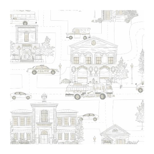 York Wallcoverings ZB3149 Brothers and Sisters V Main Street Wallpaper, Cream/Grey/Light Taupe
