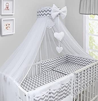 LUXURY 10Pcs BABY BEDDING SET COT BED PILLOW DUVET COVER BUMPER CANOPY to Fit Cot Bed Size 140x70cm 100% COTTON (Blue) TheLittles24