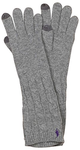 men's Touch Compatible Cable Gloves-Fawn Grey-O/S ()