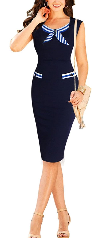 Lecheers Damen Elegant Knielang Kleider Bodycon Business Kleider Bleistiftkleid ?rmellos Kleider Casual Kleider Gr. S-XXL
