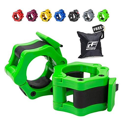 RitFit 2 Olympic Barbell Collars (Pair) - Solid Nylon Locking Clamps with Quick Release Secure Snap Latch - Great for Crossfit, OHP, Squats, Deadlifts, Cleans, Snatches (Green)