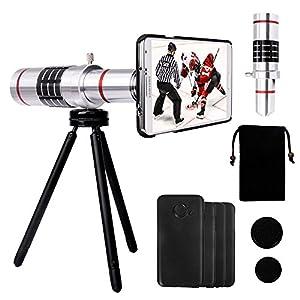 Telephoto Lens - Yarrashop Camera Lens Kit with 18x Aluminum Lens + Mini Tripod + Hard Case + Velvet Bag + Cleaning Cloth