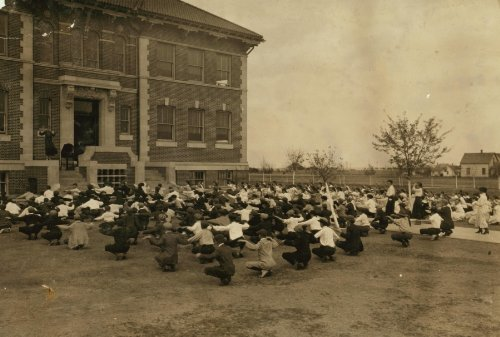 Historic Photos 1917 child labor photo Calesthenics I.e, calisthenics Every day, every schoo e9