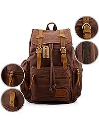 21L Vintage Canvas Backpack for Men Leather Rucksack Knapsack 15 inch Laptop Tote Satchel School Military Shoulder Rucksack Hiking Bag
