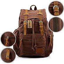 GEARONIC TM 21L Vintage Canvas Backpack for Men Leather Rucksack Knapsack 15 inch Laptop Tote Satchel School Military Shoulder Rucksack Hiking Bag
