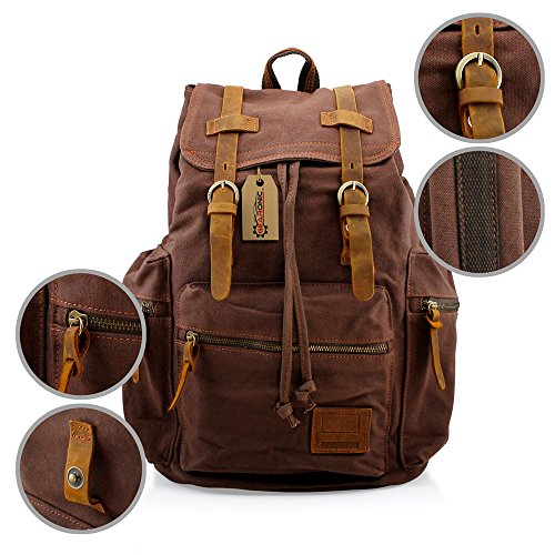 GEARONIC TM 21L Vintage Canvas Backpack for Men Faux Leather Rucksack Knapsack 15 inch Laptop Tote Satchel School Military Army Shoulder Rucksack Hiking Bag Coffee