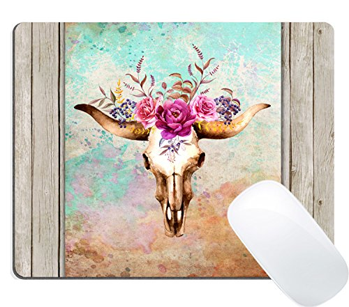 Wknoon Mouse Pad Colorful Watercolor Floral Bull Skull Oil Painting on Retro Wood Art Custom Design (Vintage Deer with Flowers Dead Art)