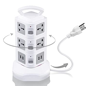 Power Strip Tower GLCON Vertical Surge Protector With Rotatable 4 USB Ports  10 Outlets 6.5ft