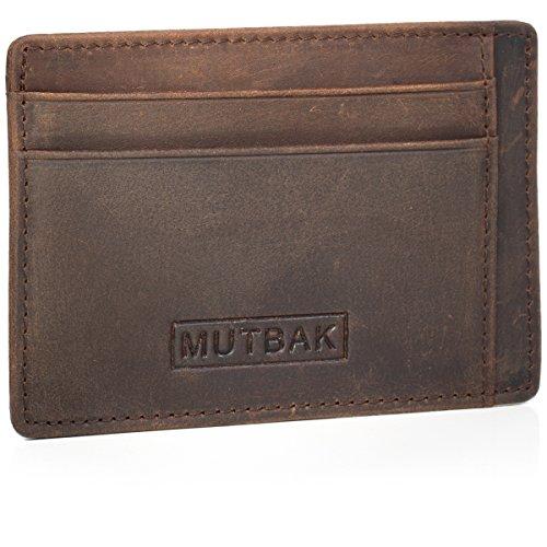 MUTBAK Sentry - Slim Leather Cardholder Wallet with RFID Blocking Minimalist Design (Memphis) ()